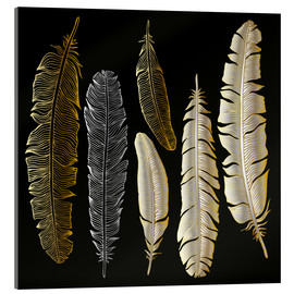Akrylglastavla  Feathers in Gold and Silver