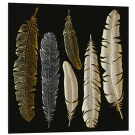 PVC-tavla  Feathers in Gold and Silver