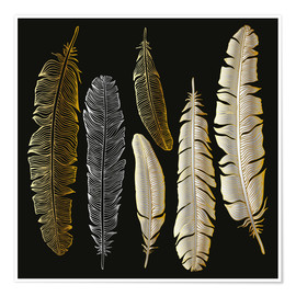 Premiumposter Feathers in Gold and Silver