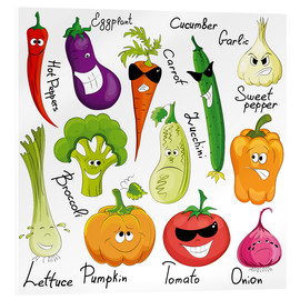 Akrylglastavla  Funny vegetables - Kidz Collection