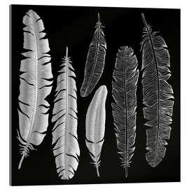 Akrylglastavla  Feathers in silver