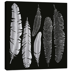 Canvastavla  Feathers in silver