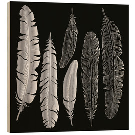 Trätavla  Feathers in silver