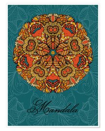 Premiumposter  Mandala on blue