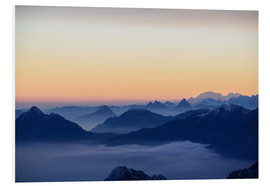 PVC-tavla  Distant mountain layers at sunrise. View from Brienzer Rothorn over swiss alps - Peter Wey
