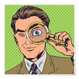 Poster Detective with magnifying glass
