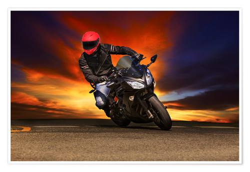 Premiumposter Motorcyclist in a curve