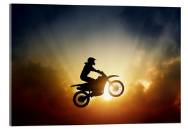 Akrylglastavla  Biker jumping at sunset