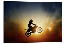 Aluminiumtavla  Biker jumping at sunset