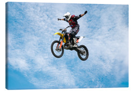 Canvastavla  Motorcycle racer jumping