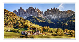 Premiumposter  Funes in the Dolomite Alps in autumn, South Tyrol - Italy - Achim Thomae