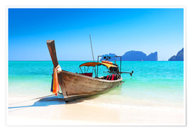 Premiumposter  Long boat in Thailand