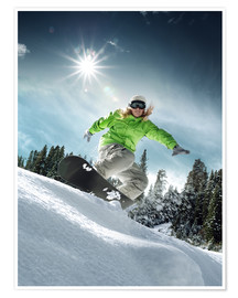 Premiumposter  Snowboarder on a slope