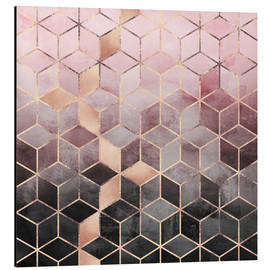 Aluminiumtavla  Pink And Grey Gradient Cubes - Elisabeth Fredriksson