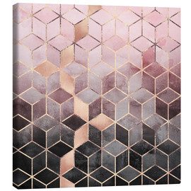 Canvastavla  Pink And Grey Gradient Cubes - Elisabeth Fredriksson