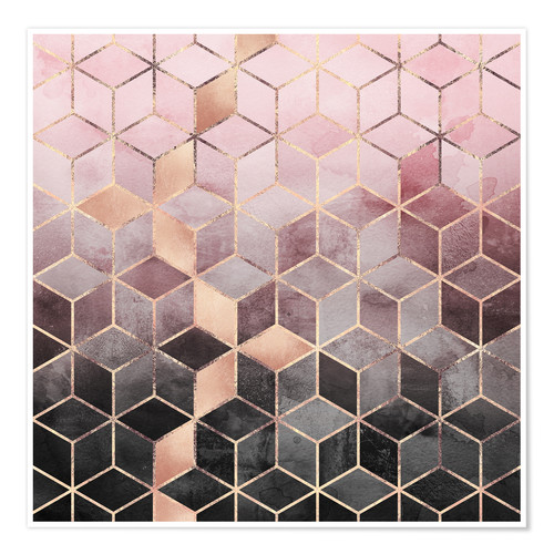 Premiumposter Pink And Grey Gradient Cubes