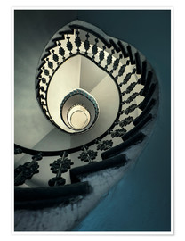 Premiumposter Spiral staircase in beige and blue
