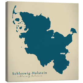 Canvastavla  Schleswig Holstein DE Germany Map Artwork - Ingo Menhard