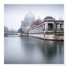 Premiumposter Berlin Cathedral in winter fog