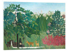 Akrylglastavla  The waterfall - Henri Rousseau