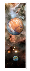 Premiumposter Alien planets and Carina Nebula