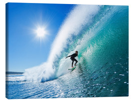 Canvastavla  Surfer on blue wave