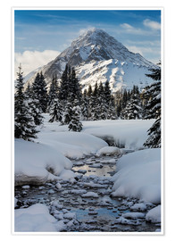 Premiumposter Brook with snowy winding banks