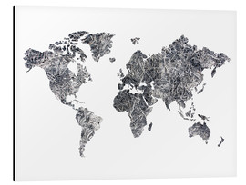 Aluminiumtavla  World Map - Dried