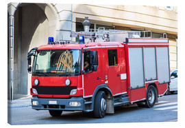 Canvastavla  Fire truck in action