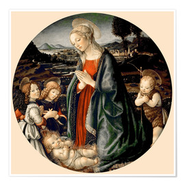 Premiumposter The Virgin Adoring the Christ Child with St. John the Baptist and Two Angels