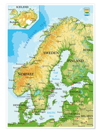 Poster  Scandinavia - Topographic Map