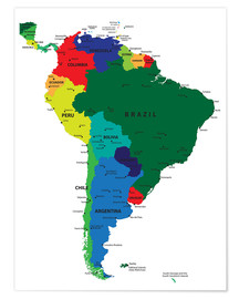 Poster  South America - Political Map