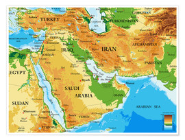 Premiumposter  Middle East - Topographic Map