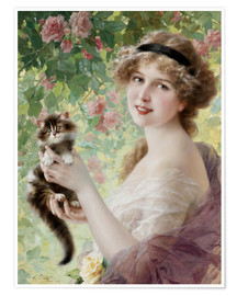 Premiumposter Young girl with a kitten