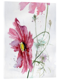 Akrylglastavla  Cosmos flower watercolor - Verbrugge Watercolor