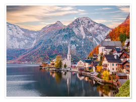 Premiumposter  Hallstatt, Austria in the Autumn - Mike Clegg Photography