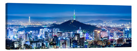 Canvastavla  Seoul panorama at night overlooking Namsan and N Seoul Tower - Jan Christopher Becke