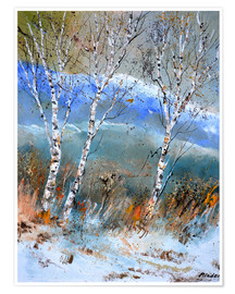 Premiumposter Birches in the winter