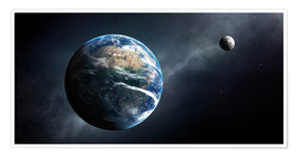 Poster  Earth and moon from outer space - Johan Swanepoel