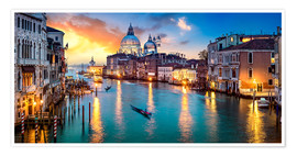 Poster Grand Canal in Venice at night, Italy