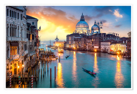 Premiumposter Grand Canal at sunset in Venice, Italy