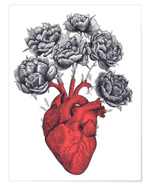 Premiumposter Heart with peonies