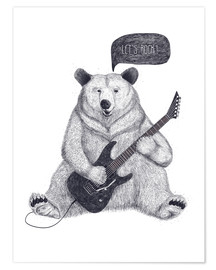 Premiumposter  Rocking bear with electric guitar - Valeriya Korenkova