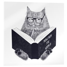 Akrylglastavla  Reading cat - Valeriya Korenkova