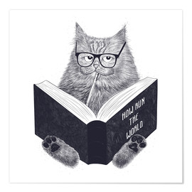Premiumposter  Reading cat - Valeriya Korenkova