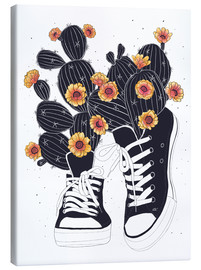 Canvastavla  Sneakers with flowering cactuses - Valeriya Korenkova