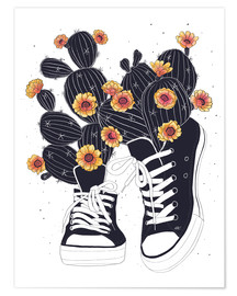Premiumposter  Sneakers with flowering cactuses - Valeriya Korenkova
