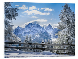 Akrylglastavla  Winter in the Sesto Dolomites, South tyrol, Italy - Christian Müringer