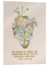 Akrylglastavla  A Travelers Heart + Quote - Bianca Green