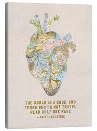 Canvastavla  A Travelers Heart + Quote - Bianca Green